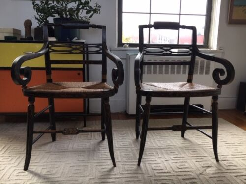 Pair of fancy painted 19th Century American chairs With scrolled arms
