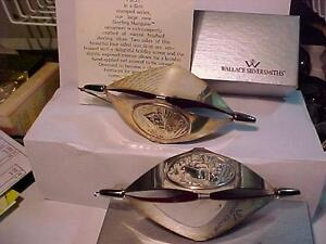 OFFERING 2 WALLACE SILVERSMITHS STERLING MARQUISE FIRST (1990) EDITION VERY RARE CHRISTMAS TREE ORNAMENT.