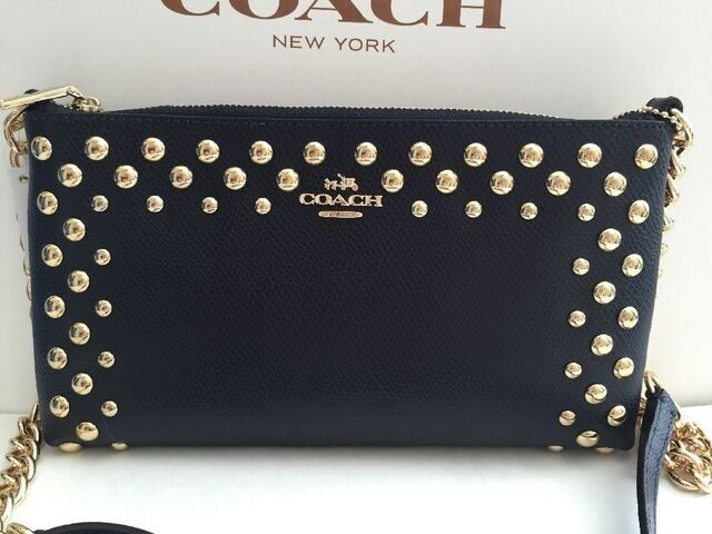 COACH STUDDED CROSSGRAIN LEATHER QUINN SLING BAG
