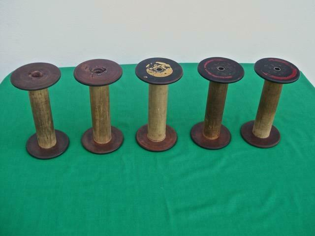 (LOT OF 5 ) ANTIQUE WOODEN THREAD SPOOLS BOBBIN SPINDLES INDUSTRIAL TEXTILE MILL