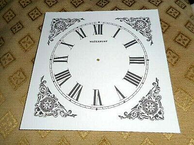 "Waterbury Shelf/Mantle PAPER (CARD) Clock Dial - 5"" MINUTE TRACK - Black Design"