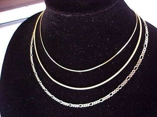 "3 Vintage Sterling Silver Gold Vermeil Chains Graduated Lengths Danecraft 16-20"""