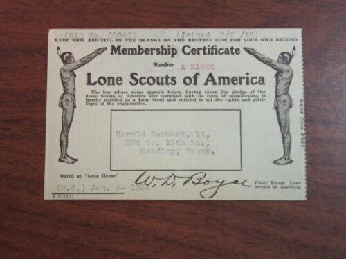 Lone Scouts of America Membership Certificate 1924       c72