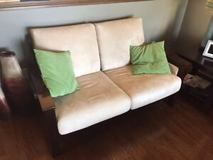 Micro fibre couch, chair, sofa, two end tables and coffee $500