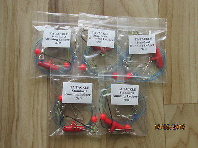5 x STANDARD Running ledger sea fishing rigs 3/0 hook good 4 cod bass