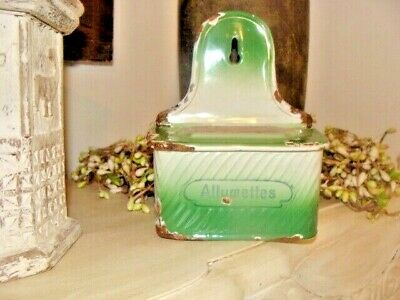French  Vintage Enamel Allumettes  Match box holder..kitchenalia