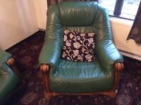 Green leather 3 Piece Suite FREE to needy home
