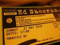 1 x ticket for Ed Sheeran Sunday 27/5/18, Etihad Stadium, Manchester