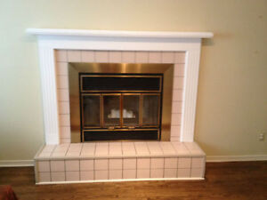 WHITE WOOD FIREPLACE MANTEL - EXCELLENT CONDITION
