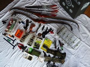 Collection of Archery Equipment and Materials