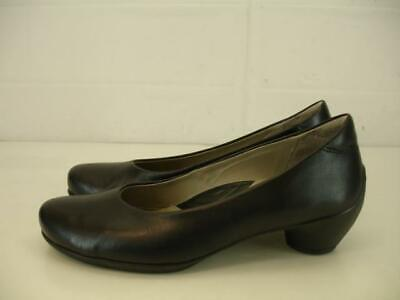 Womens 6 6.5 37 ECCO Sculptured 45 Plain Pump Dress Shoes Black Leather Low Heel