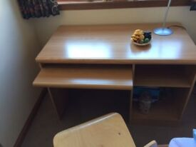 Light wood computer table and matching chair with retractable key board drawer - excellent condition