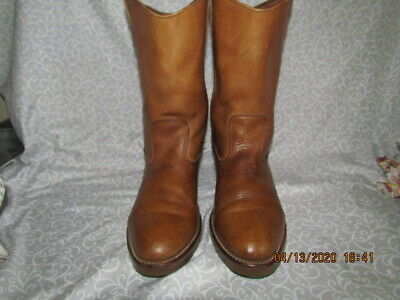 MENS DOUBLE H BROWN LEATHER COWBOY RODEO WESTERN BOOTS # 2585 SZ 8?*