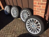 Set of 18 inch alloy wheels to fit BMW 3 series, with winter tyres
