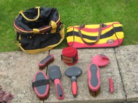 Horse grooming items and bag