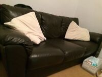 Lovely condition dark brown leather sofa
