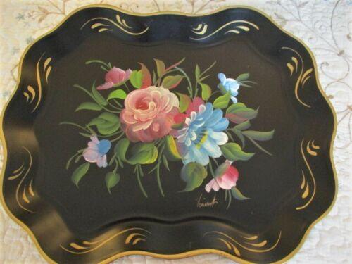 Signed Hand Painted Pink Blue Flowers Vintage Black Metal Dresser Tole Tray