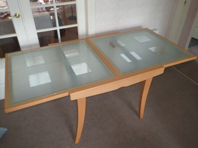 Stylish Extending Ikea Dining Table Wood Base Frosted Gl Top