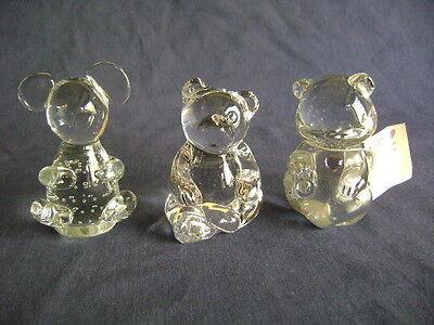 Art Glass Paperweights 2 Bear Figurines (1 Fenton) 1 Koala Controled Air Bubbles