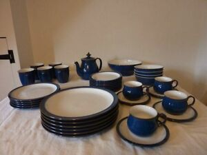 Denby Imperial Blue mugs tea dinner salad side plates cereal bowls vgc