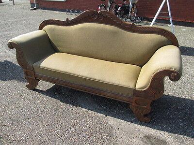 Tolles altes Sofa um 1890 mit sehr schönen Schnitzereien Nussbaum wohnfertig