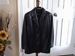 Black Winter Leather Coat with Removable Vest Liner ( Danier )