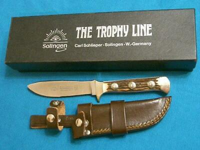 NM VINTAGE SCHLIEPER EYE BRAND GERMANY#381 TROPHY LINE STAG HUNTING KNIFE SHEATH