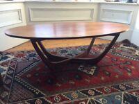 "1960s teak ""surf board"" coffee table - Danish modern style"