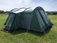 Large family tent Outwell Montana 6 green with front extension and foot print