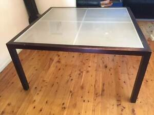 Dining Table Frosted Glass Engadine Sutherland Area Preview