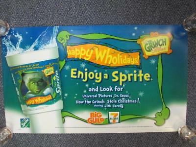 2000 DR. SEUSS' THE GRINCH 7 ELEVEN BIG GULP STORE DISPLAY TRANSLIGHT POSTER