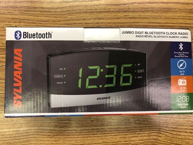 Bluetooth Radio Alarm Clock with Battery Backup IPhone Aux I