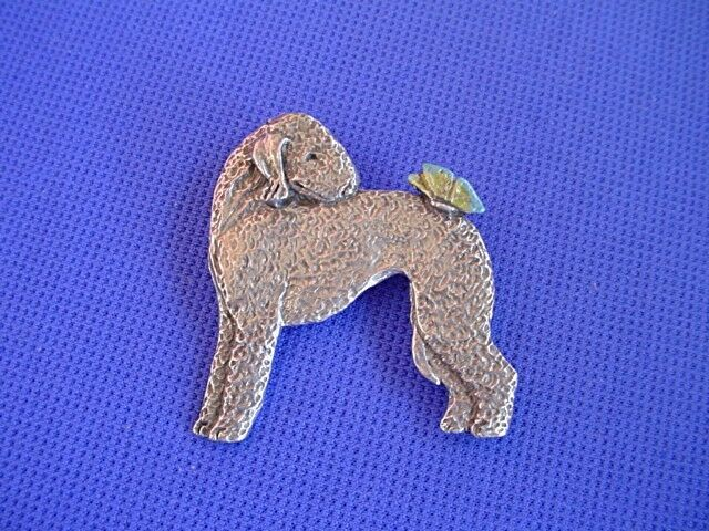 Pewter Bedlington Terrier and Butterfly pin #90B Dog Jewelry by Cindy A. Conter