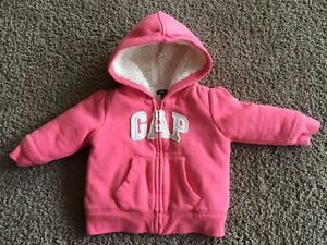 Baby Girl GAP sherpa hoodie, size 6-12 months