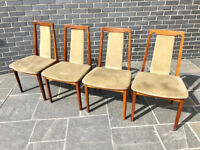 G Plan, Four Teak Dralon Upholstered Dining Chairs