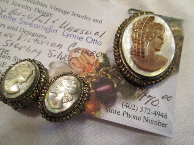 Antique Victorian .925 Silver Carved Abalone Cameo Pendant Earrings Jewelry Set