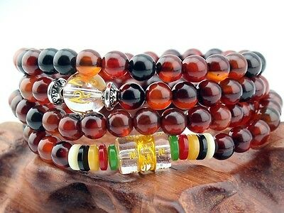 Delicate Tibetan Om Mani 108 6mm Agate Gemstone Prayer Beads Mala Necklace -27""