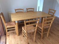 Wooden IKEA Ladderback / rush seat dining chairs x 6