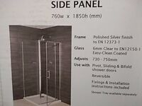 Aquaverre shower side panel 760mm w x 1850mm h