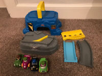 Fisher price littlepeople DC super friends bat cave and 4 wheelies