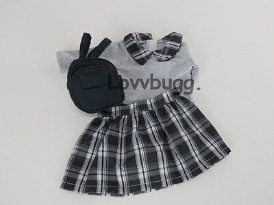 "Lovvbugg Plaid Skirt Set with Backpack  for 18"" American Girl Doll Clothes"