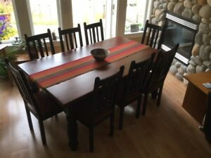 Harvest / Farmhouse Style Table & 8 Chairs