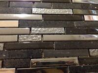 CLEARANCE Mosaic Black Quartz, Glass and Chrome tile border, crafts