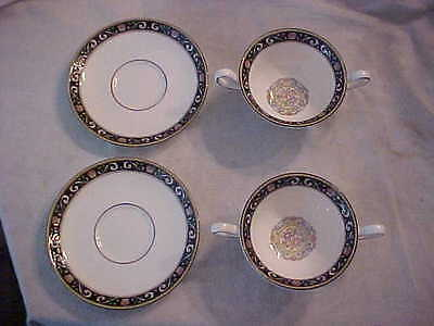 2 Wedgwood Runnymede W4472 Pattern Cream Soup Bowls and Underplates Excellent
