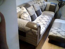 DFS Patchwork Large Sofa ,Footstool and 4 Cushions Excellent Condition