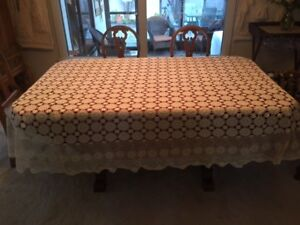 Large Ecru crocheted tablecloth. Gorgeous