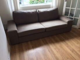 IKEA 3 seater light brown sofa