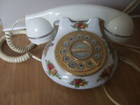 Royal Albert Old Country Roses telephone, Porcelain Base. Button dial.