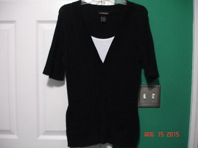 "NWOT Women's ""Lane Bryant"" Short Sleeve Fitted Sweater Size 14/16 (black/white)"