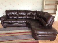 Dark brown DFS corner sofa